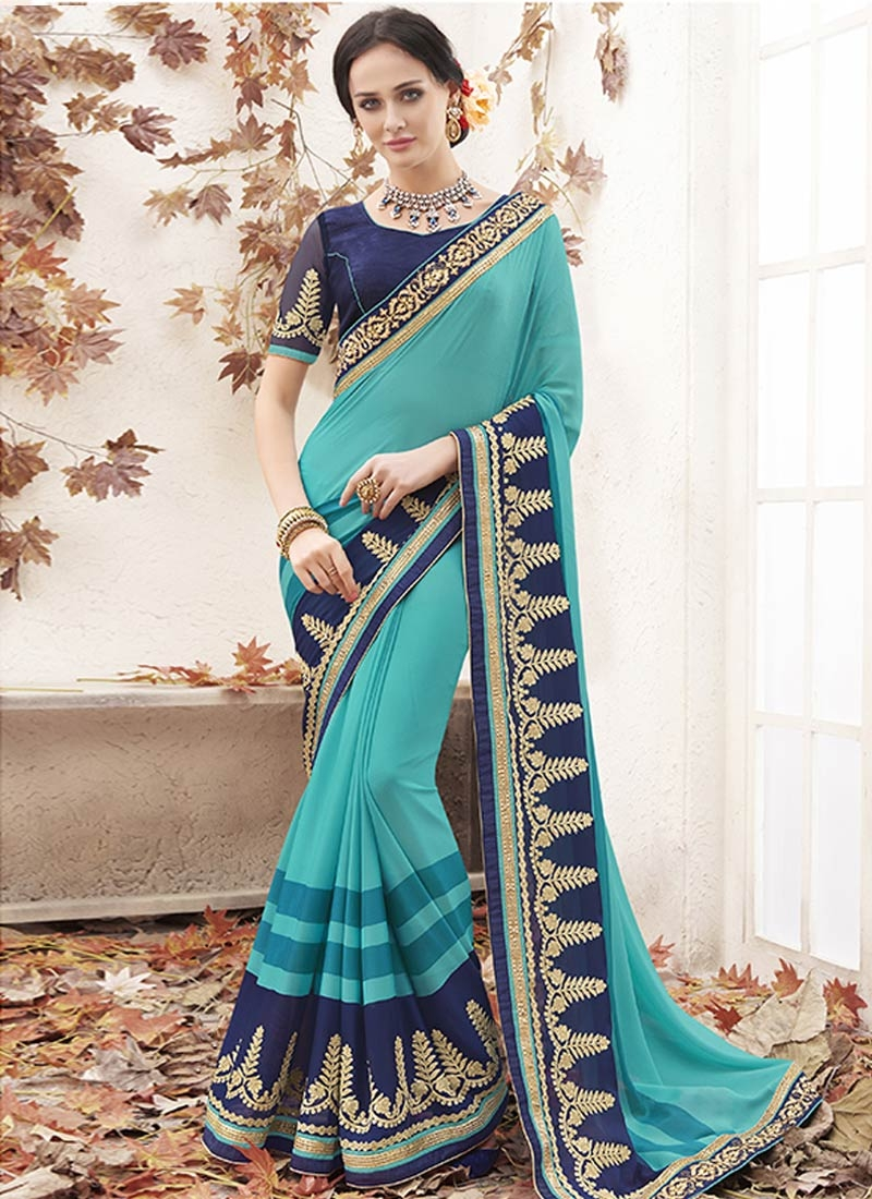 Superlative Resham Work Aqua Blue Color Party Wear Saree