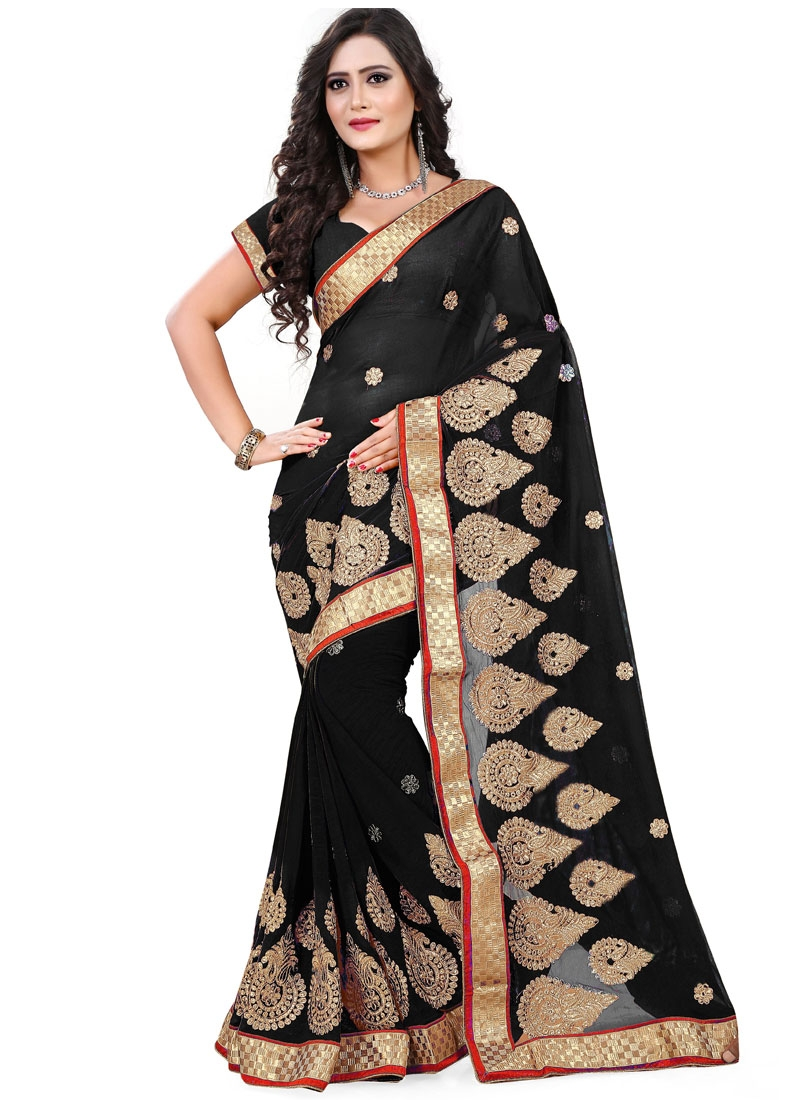 Superlative Resham Work Faux Chiffon Party Wear Saree