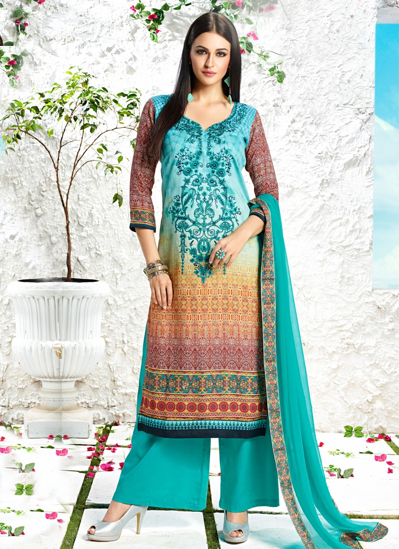 Superlative Resham Work Palazzo Style Party Wear Salwar Suit