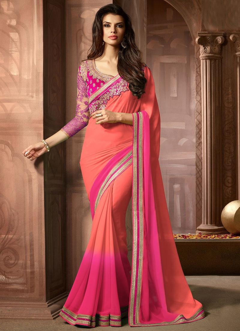 Superlative Rose Pink Color Resham Work Party Wear Saree