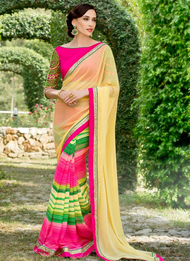 Superlative Rose Pink Color Sequins Work Party Wear Saree
