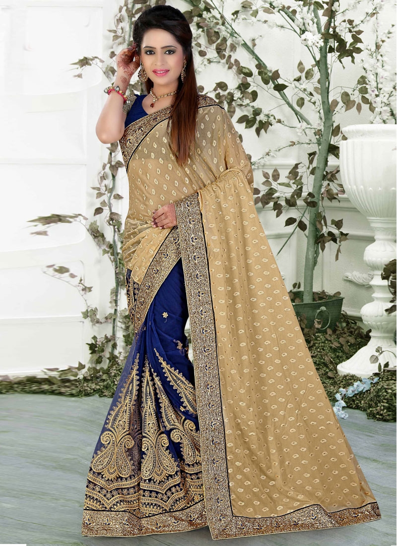 Superlative Stone Work Lycra Half N Half Wedding Saree