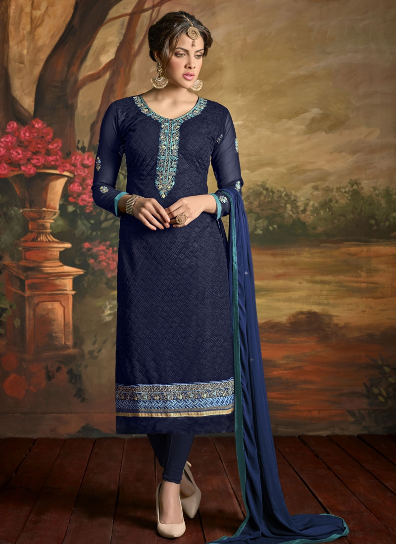Superlative Stone Work Party Wear Salwar Suit