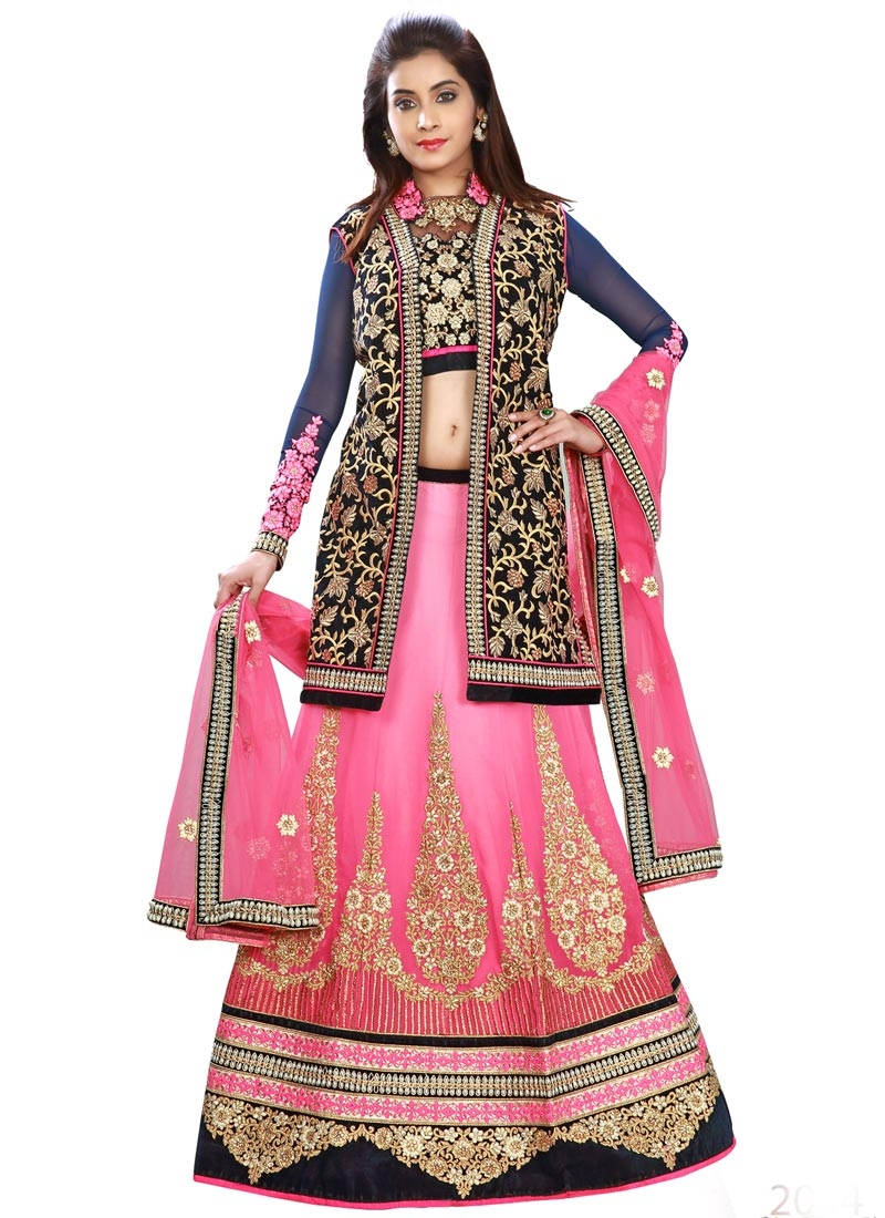 Superlative Stone Work Pink Color Jacket Style Designer Lehenga Choli