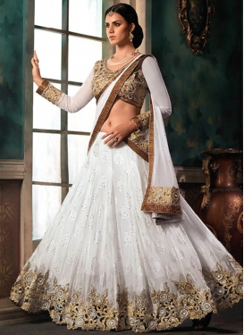 Superlative White Color Patch Work Designer Lehenga Choli