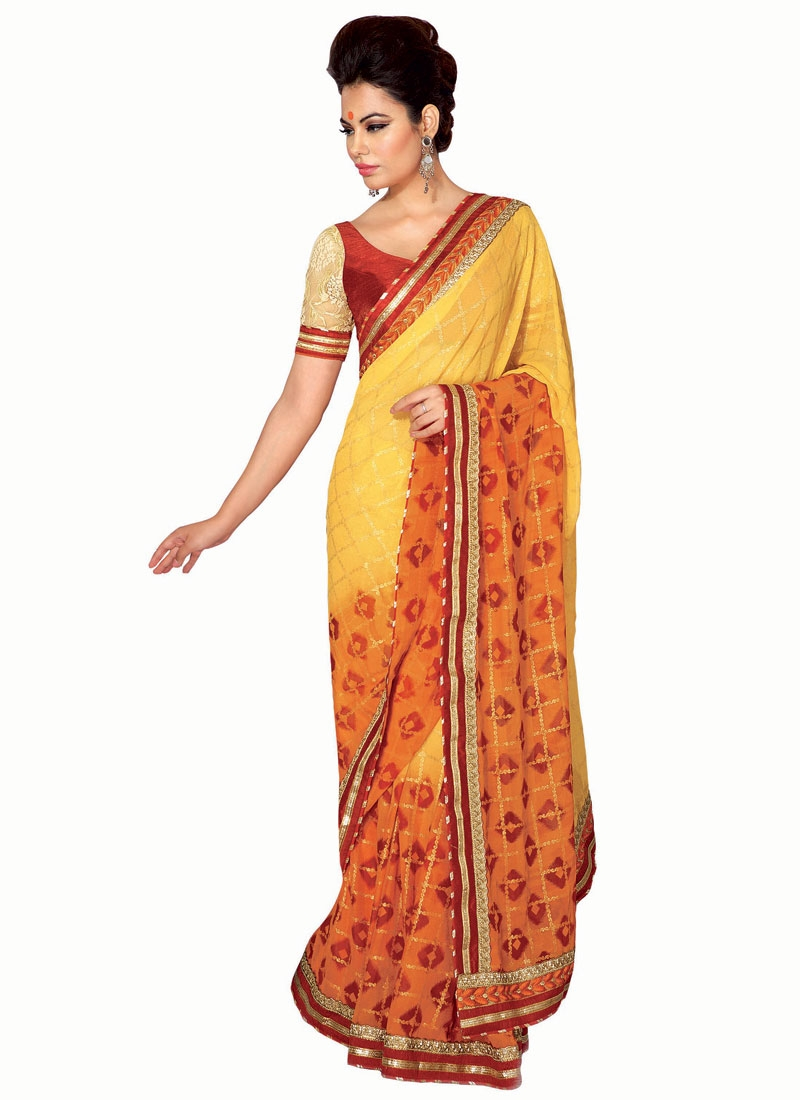 Superlative Yellow And Orange Color Party Wear Saree