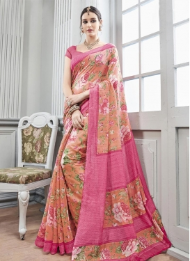 Surpassing  Art Silk Print Work Peach and Rose Pink Contemporary Saree