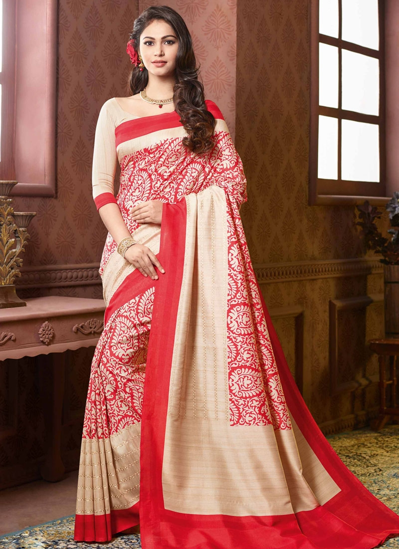 Surpassing Art Silk Printed Party Wear Saree
