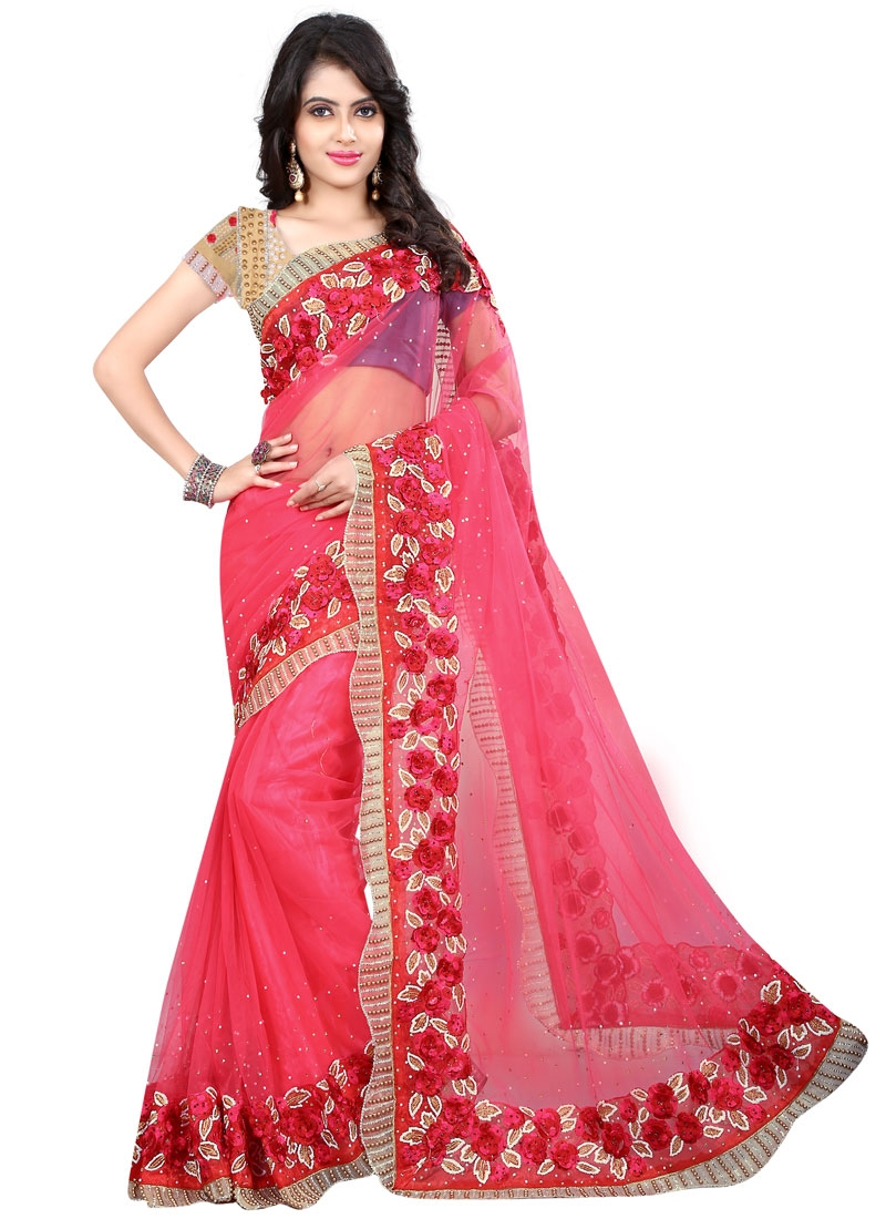 Surpassing Beads Work Net Wedding Saree