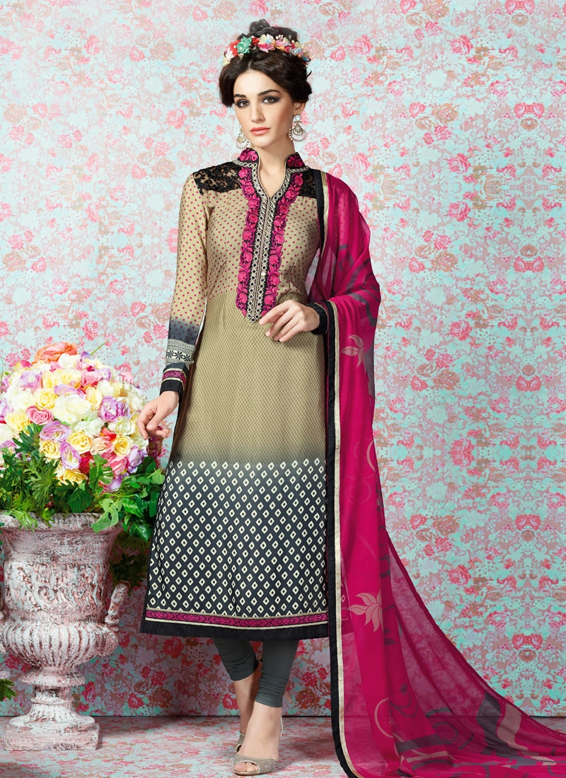 Surpassing Beige Color Mirror Work Casual Salwar Kameez