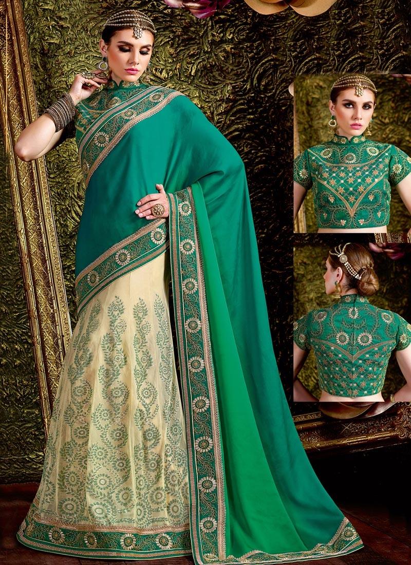 Surpassing Cream and Green Net Designer Lehenga Saree