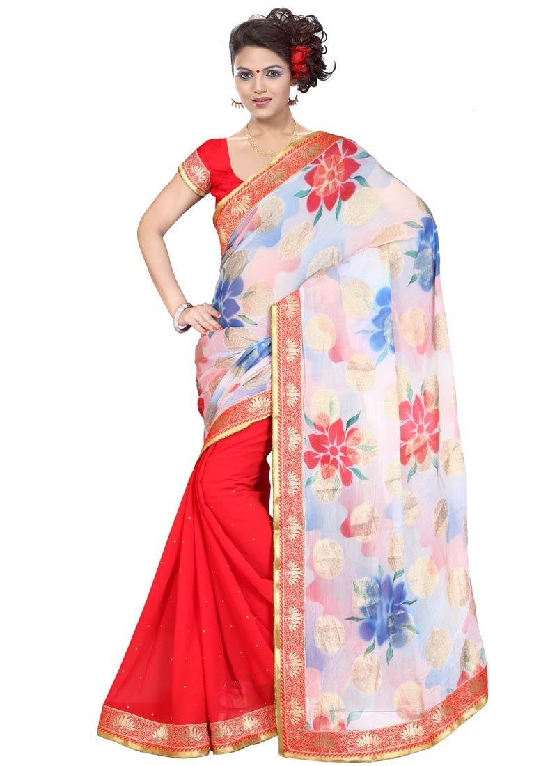 Surpassing Digital Print Work Half N Half Party Wear Saree
