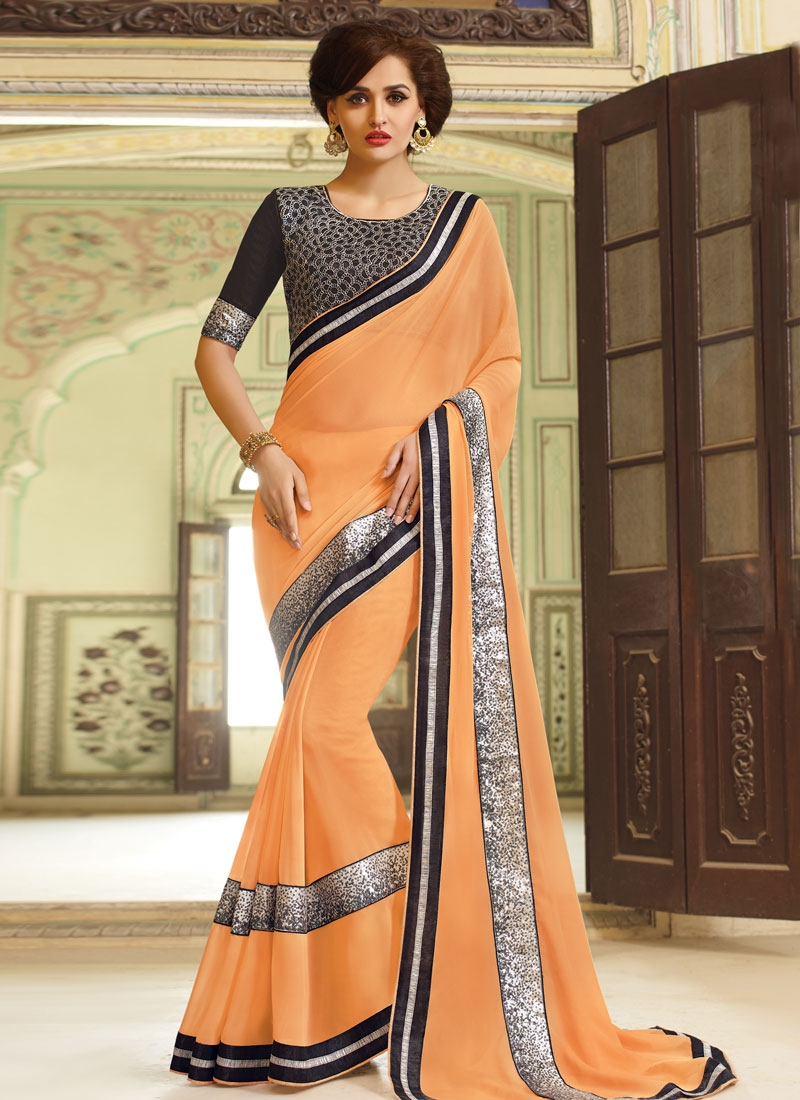 Surpassing Faux Georgette Peach Color Party Wear Saree