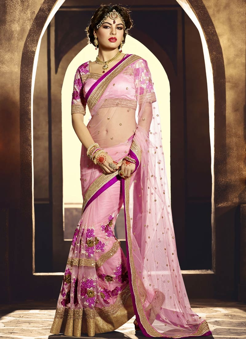 Surpassing Floral And Lace Work Bridal Saree