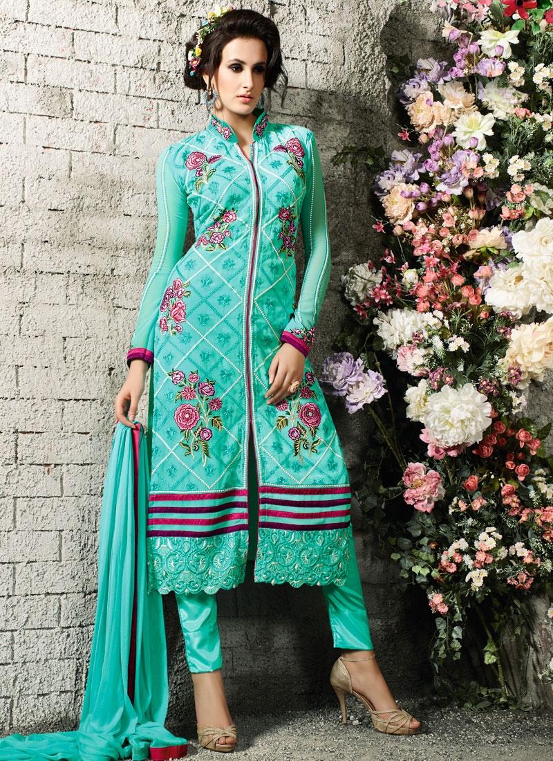 Surpassing Floral Work Pant Style Designer Salwar Suit