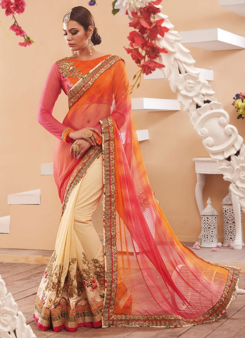 Surpassing Gold Zardosi Work Half N Half Wedding Saree
