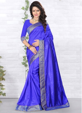 Surpassing Lace And Resham Work Casual Saree