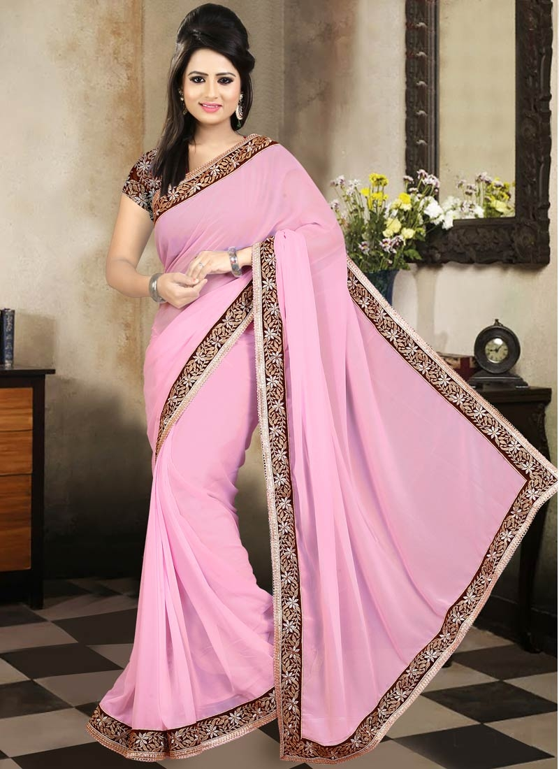 Surpassing Lace Work Pink Color Party Wear Saree