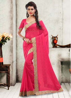 Surpassing Mirror And Stone Work Designer Saree