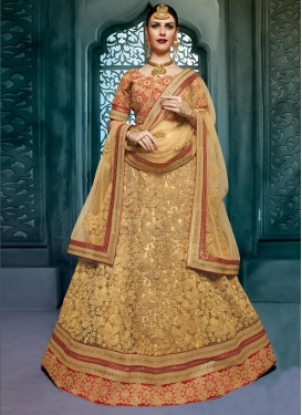 Surpassing Net Embroidered Work Designer A Line Lehenga Choli
