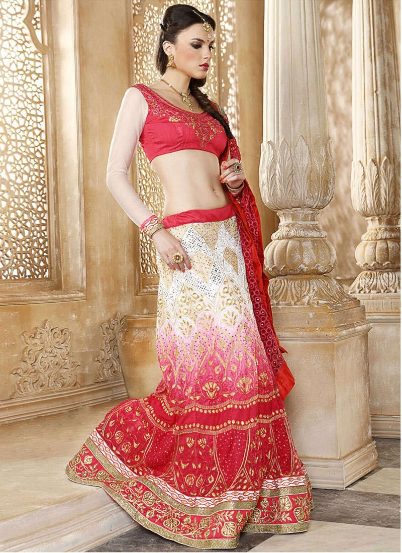 Surpassing Off white And Red Color Net Bridal Lehenga Choli