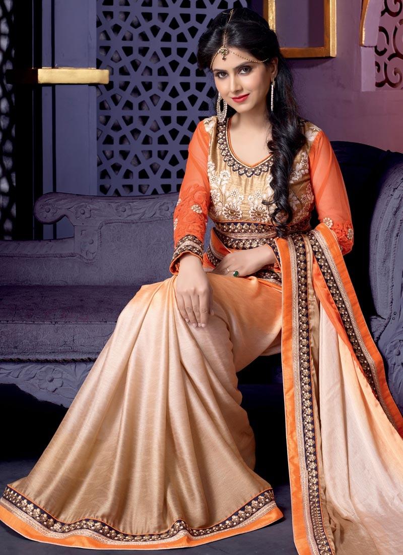Surpassing Orange And Beige Color Wedding Saree