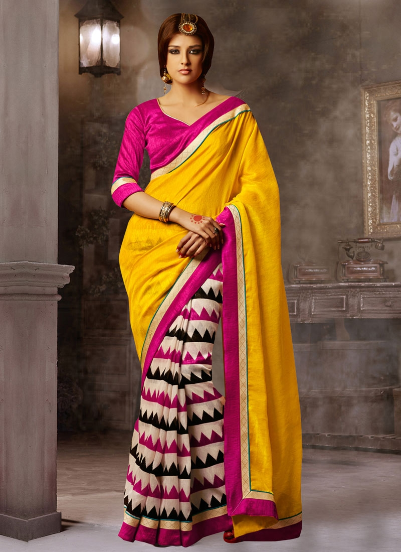 Surpassing Printed Half N Half Casual Saree