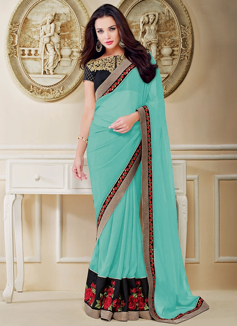 Surpassing Pure Georgette Floral Work Amy Jackson Party Wear Saree
