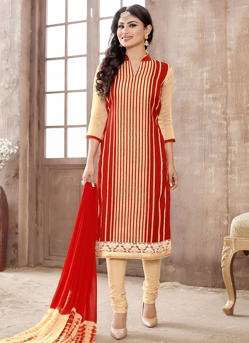 Surpassing Red And Cream Color Mouni Roy Party Wear Suit