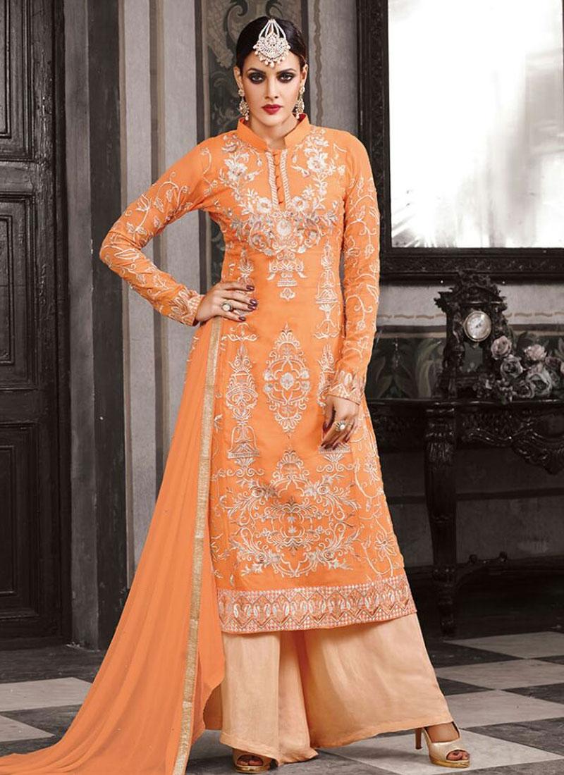 Surpassing Resham Work Palazzo Style Designer Suit