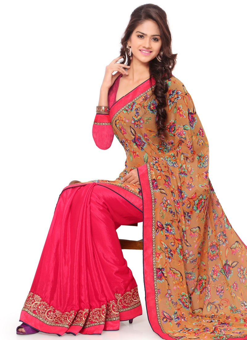 Surpassing Rose Pink Color Crepe Silk Half N Half Casual Saree