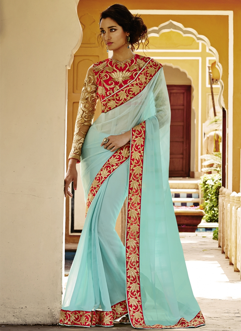 Surpassing Satin Chiffon Party Wear Saree