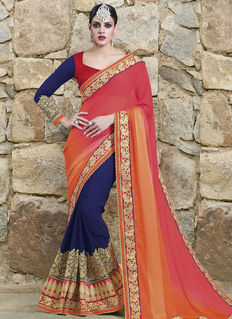 Surpassing Sequins And Patch Border Work Half N Half Wedding Saree