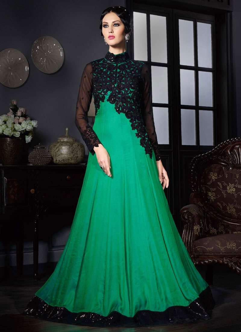 Surpassing Sequins Work Satin Floor Length Designer Suit
