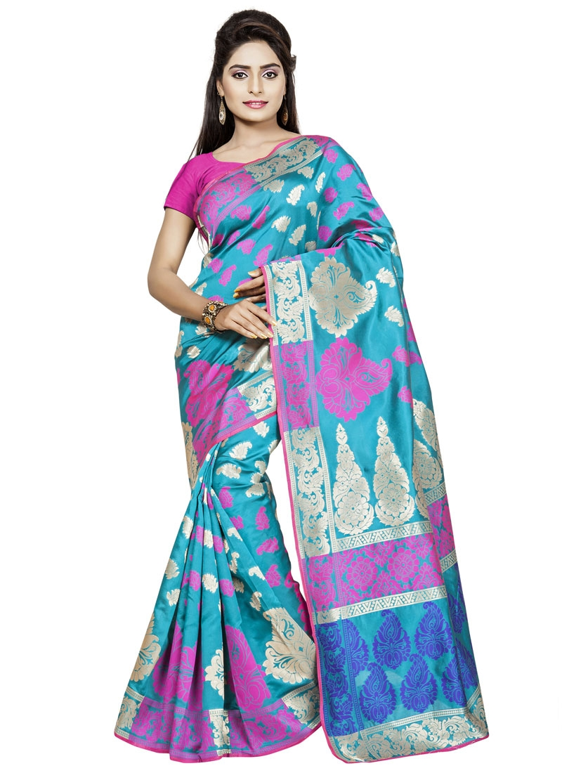 Surpassing Turquoise Color Casual Saree