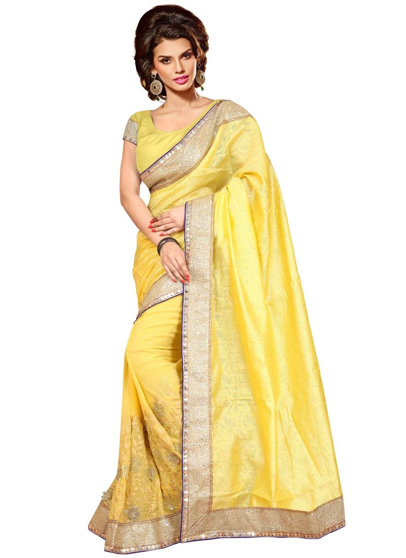 Surpassing Yellow Color Resham Work Party Wear Saree