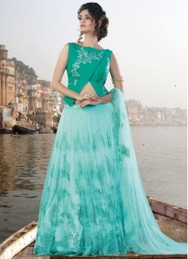 Swanky Aqua Blue Net Designer Lehenga Choli