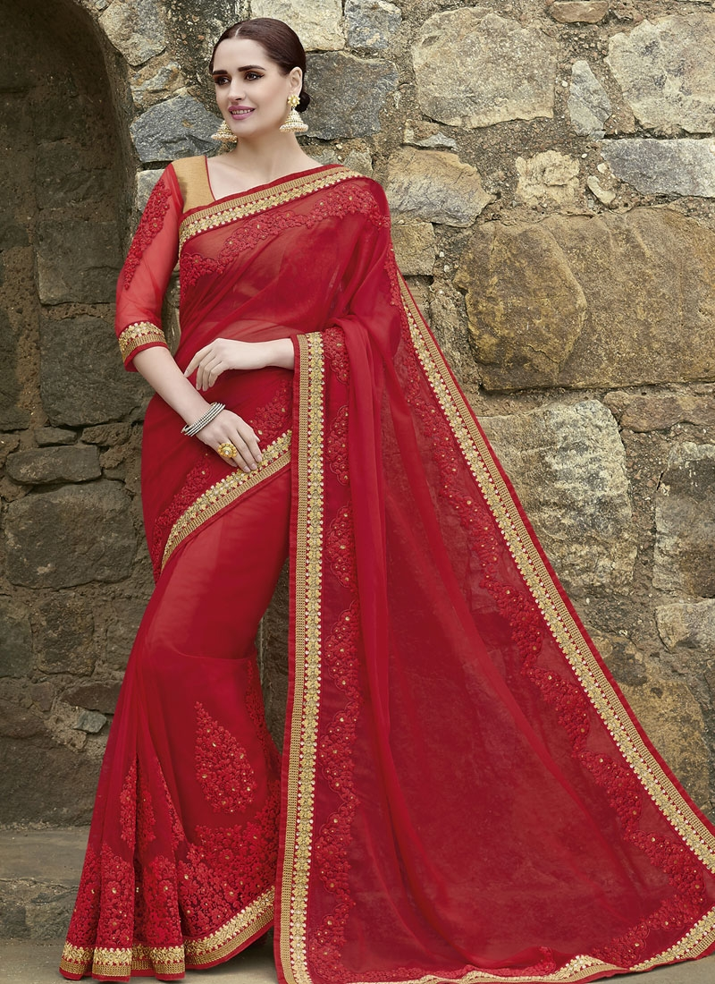 Swanky Booti And Sequins Work Designer Saree