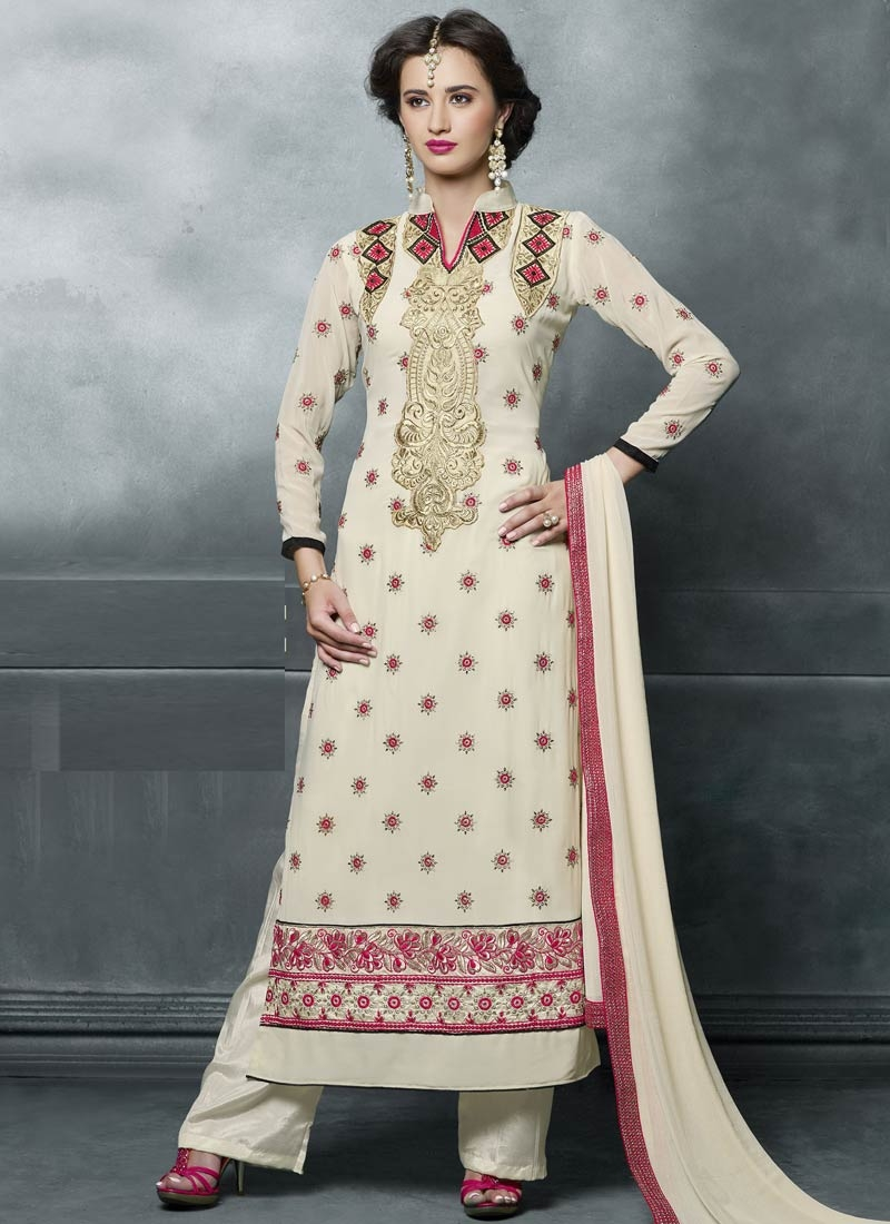 Swanky Cream Color Lace Work Pant Style Pakistani Suit