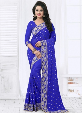 Swanky Faux Georgette Embroidered Work Trendy Saree