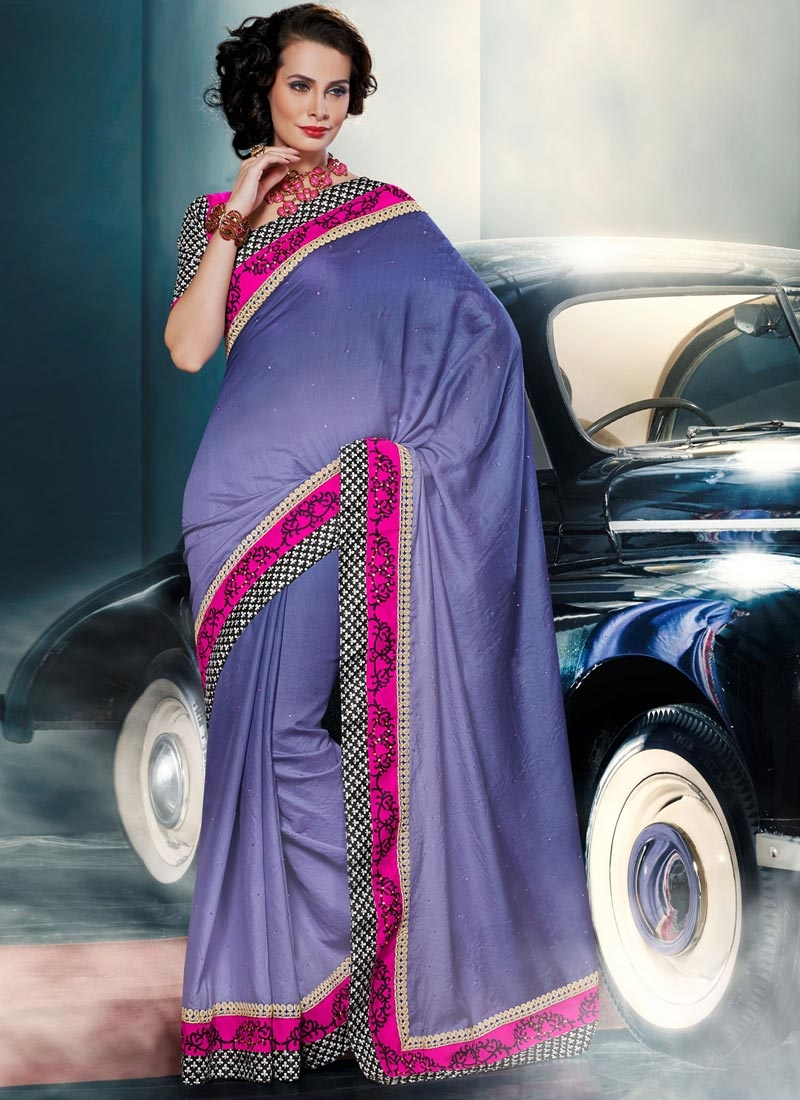 Swanky Lace And Stone Work Party Wear Saree