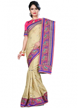 Swanky Manipuri Silk Patch Border Work Party Wear Saree