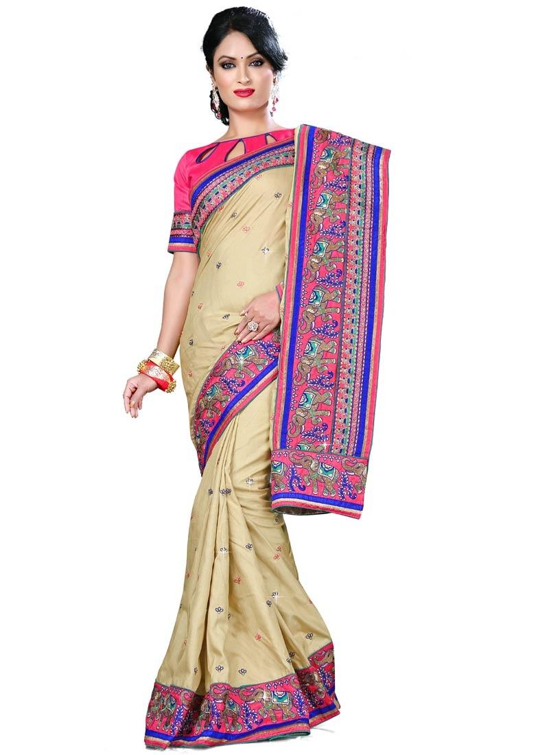 Swanky Manipuri Silk Patch Border Work Party Wear Saree