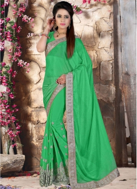Swanky Mirror And Beads Work Designer Saree