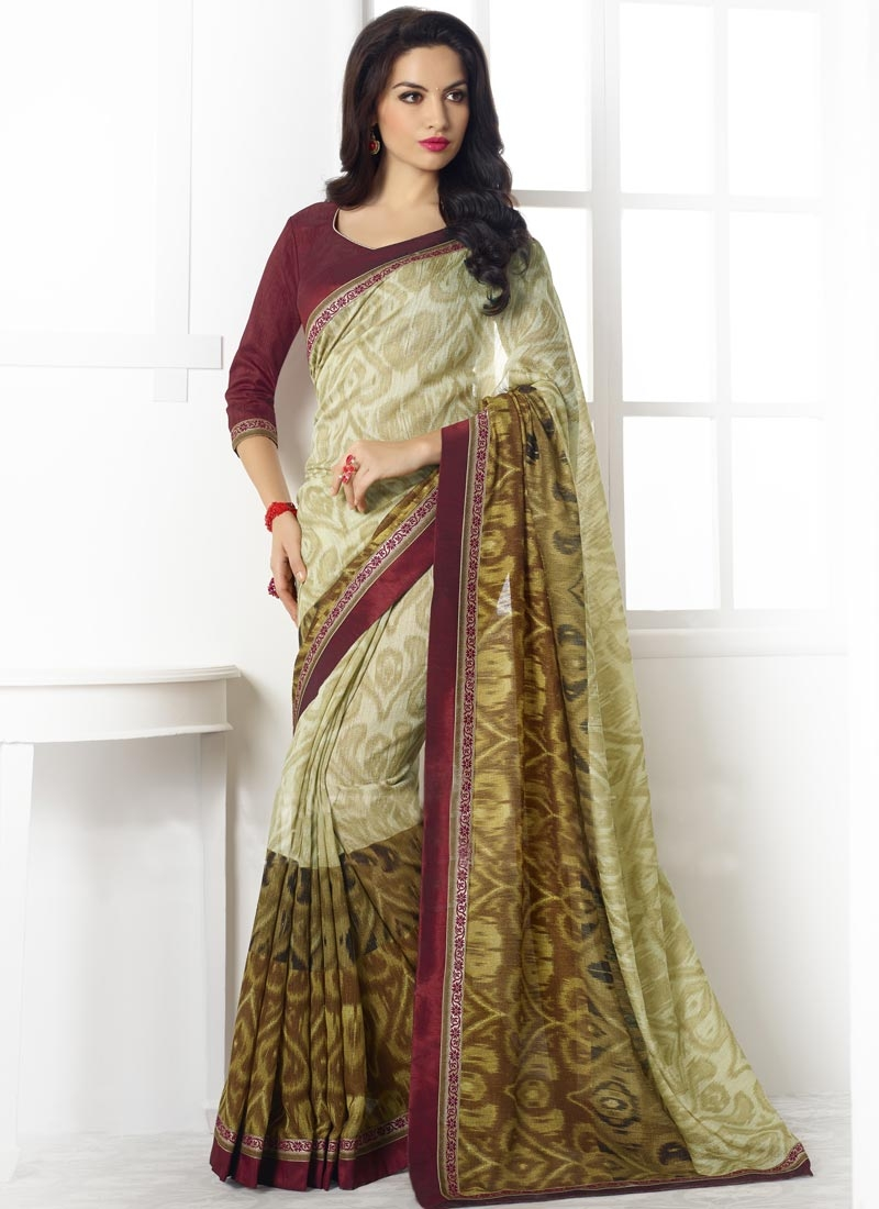 Swanky Off White Color Linen Casual Saree