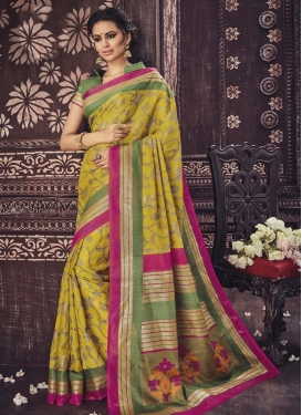 Swanky Print Work Trendy Saree For Casual