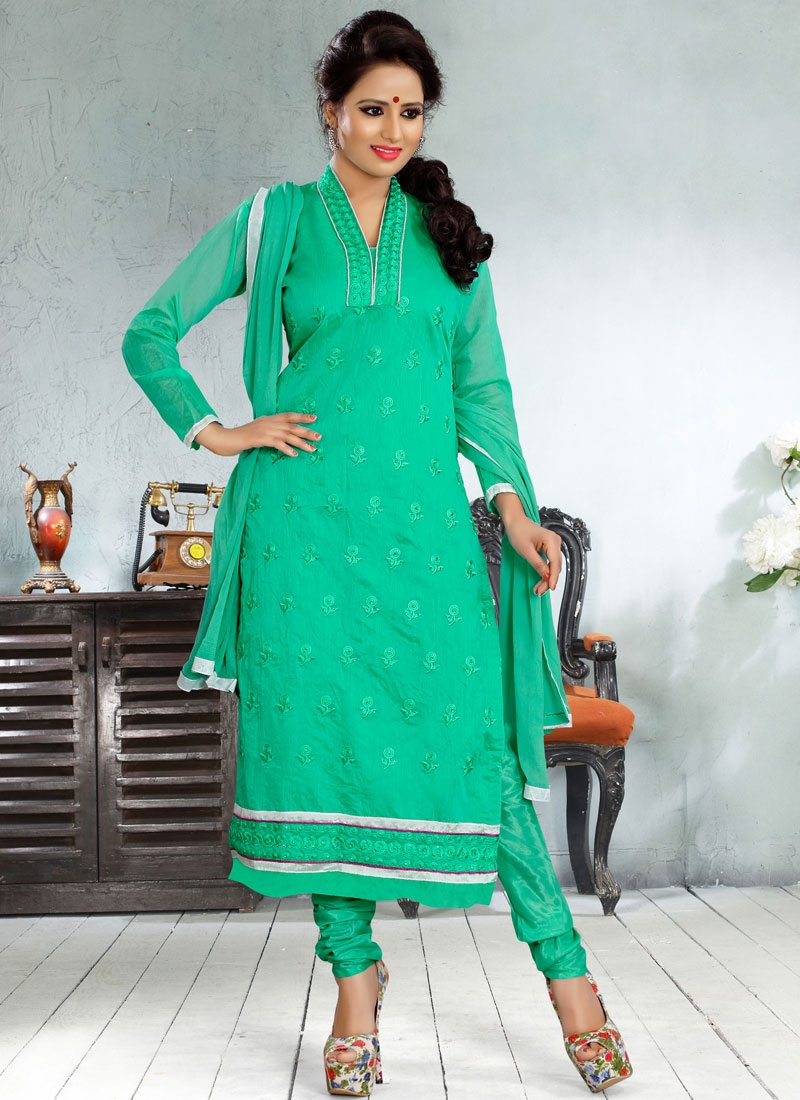 Swanky Resham And Lace Work Churidar Salwar kameez