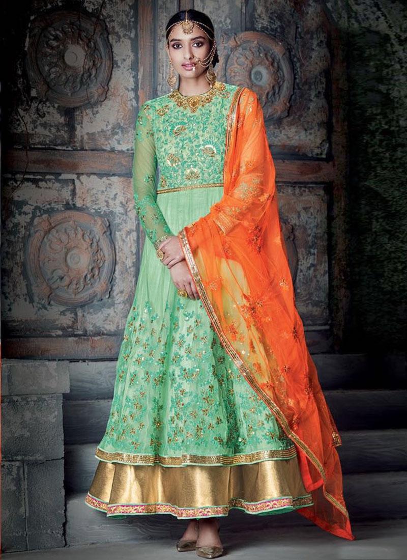 Swanky Sequins Work Double Layered Wedding Salwar Kameez