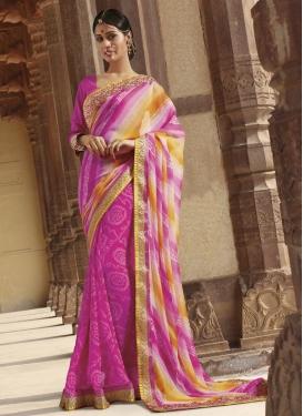 Sweet  Bandhej Print Work Classic Designer Saree