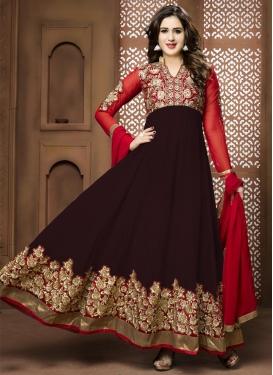 Sweet Faux Georgette Red and Wine Anarkali Salwar Kameez